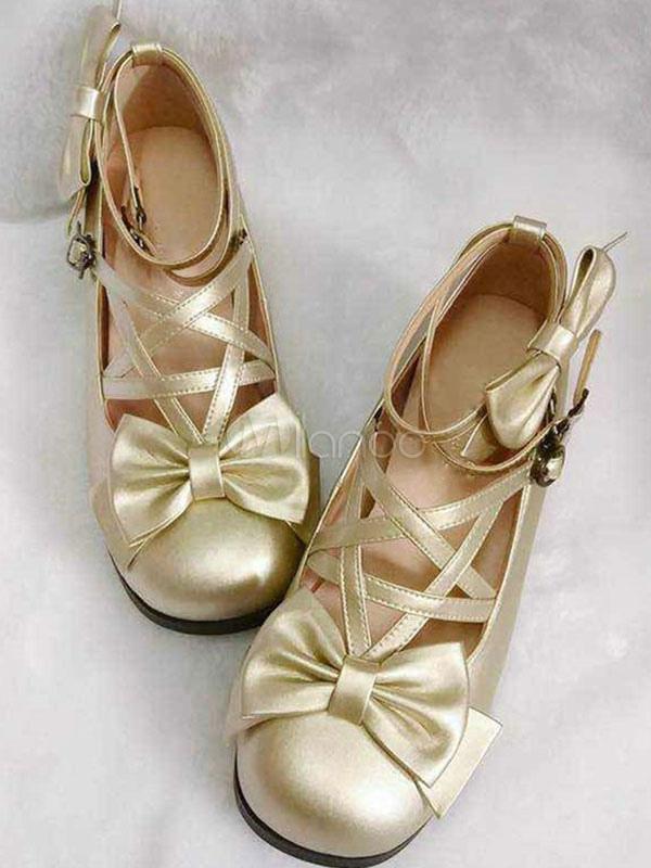 Zapatos de lolita de PU de puntera cuadrada con lazo Fiesta del té epOl3Ow