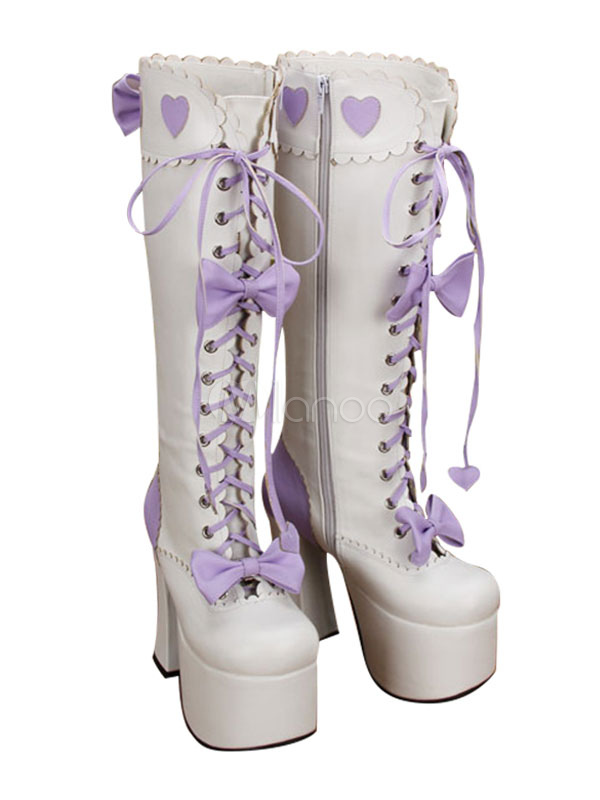 Buy Sweet Lolita Boots Bows Platform Chunky Heel Square Toe White Lolita Winter Boots for $126.99 in Milanoo store