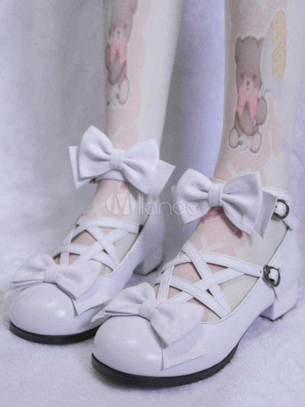 Sweet Lolita Shoes Square Toe Chunky Heel Bows Criss Cross White Lolita Shoes