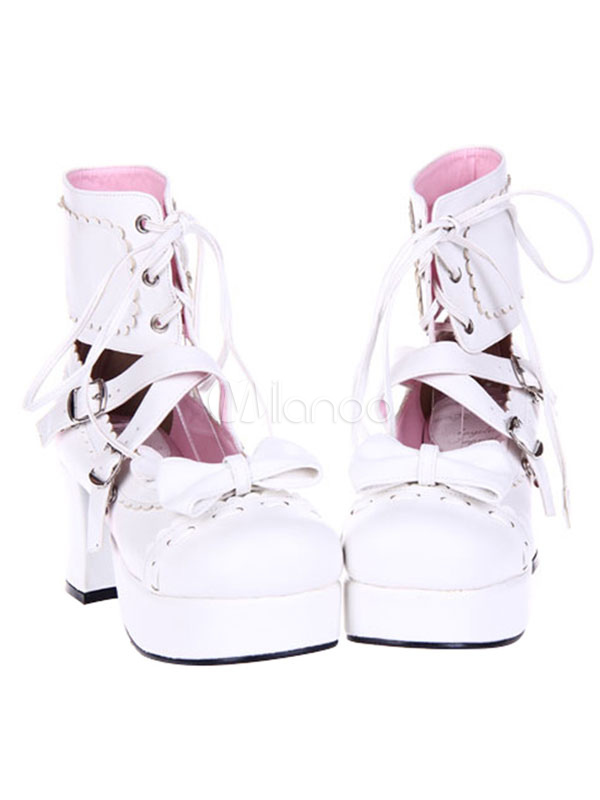 Buy Sweet Lolita Boots Square Toe Chunky Heel Platform Lace Up White Lolita Winter Boots for $68.99 in Milanoo store