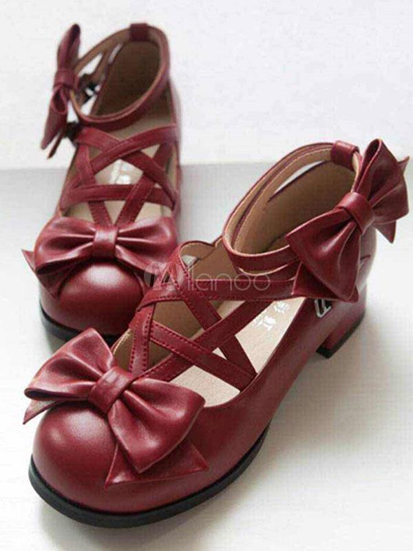 Zapatos de plataforma Lolita blanca arcos único negro hebillas de correa de tobillo 2QkVc0I