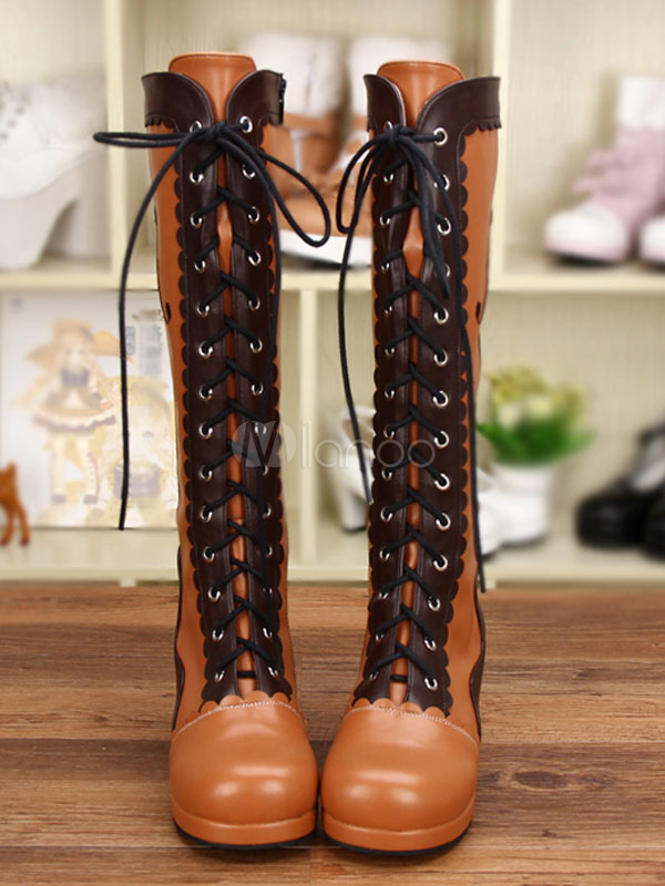 Classic Lolita Boots Knee High Platform Chunky Heel Square Toe Lace Up Brown Winter Boots