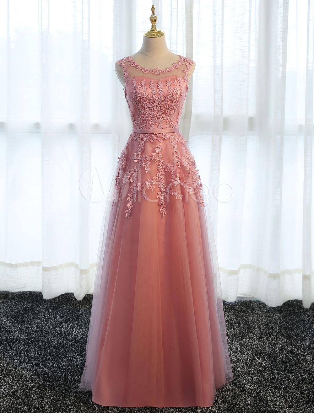 Buy Long Prom Dresses Lace Cameo Pink Party Dress A Line Applique Tulle Maxi Formal Dress for $83.99 in Milanoo store