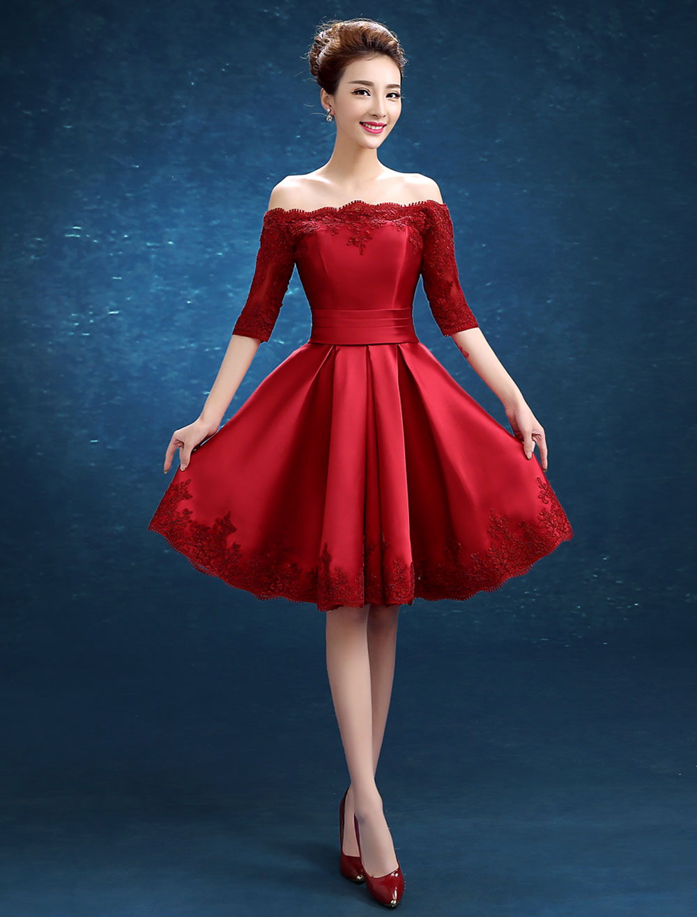 Cocktail Dress Red Short Party Dress Off The Shoulder Lace Applique Half Sleeve Pleated Sash Homecoming Dress