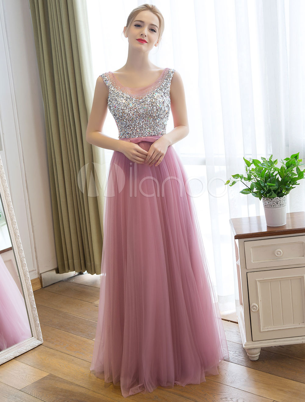 Long Prom Dress Cameo Pink Tulle Party Dresses Rhinestone Beaded Backless Bow Sash Sleeveless Maxi Occasion Dress