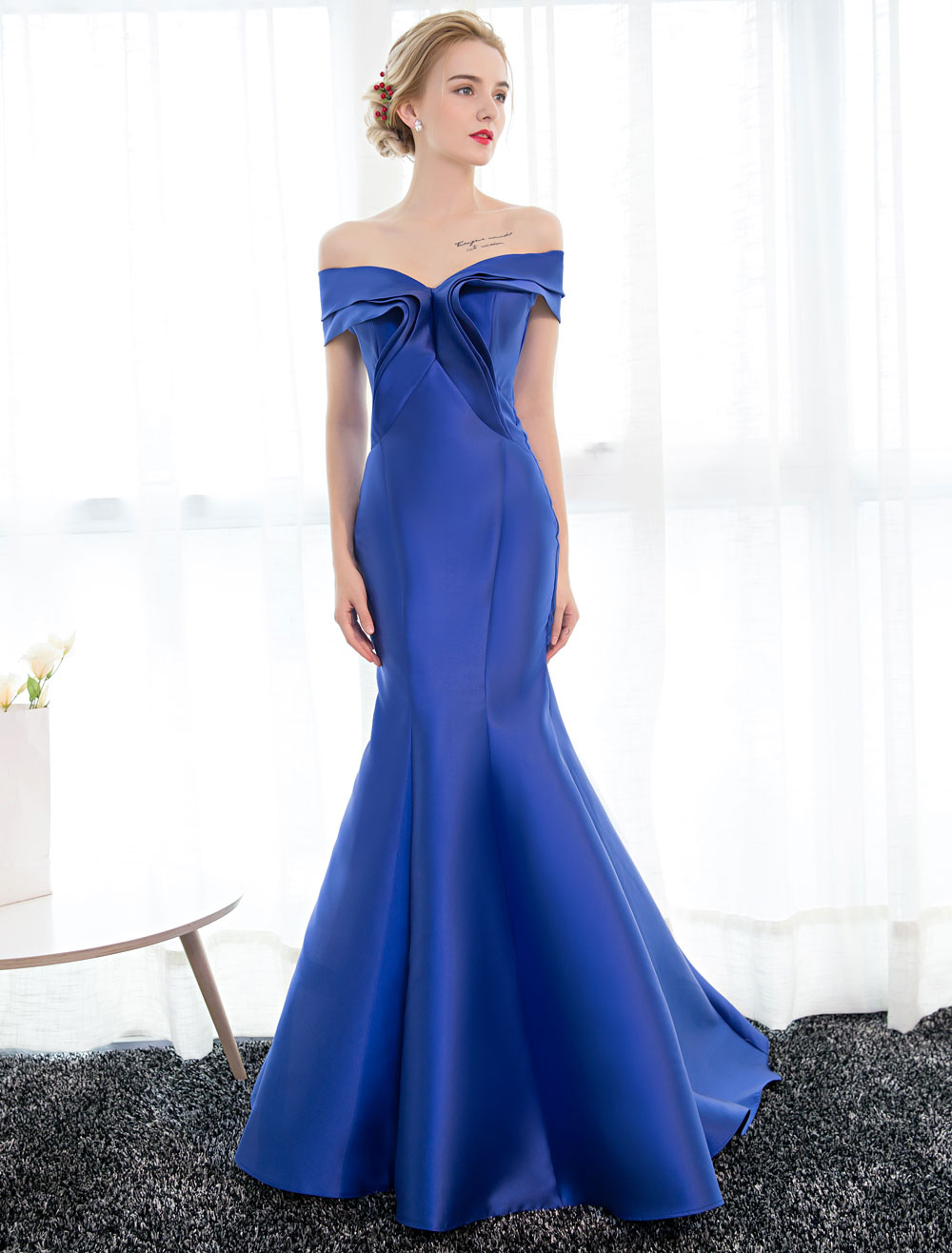 Evening Dresses Satin Royal Blue Evening Gown Off The Shoulder Mermaid Formal Dress With Train