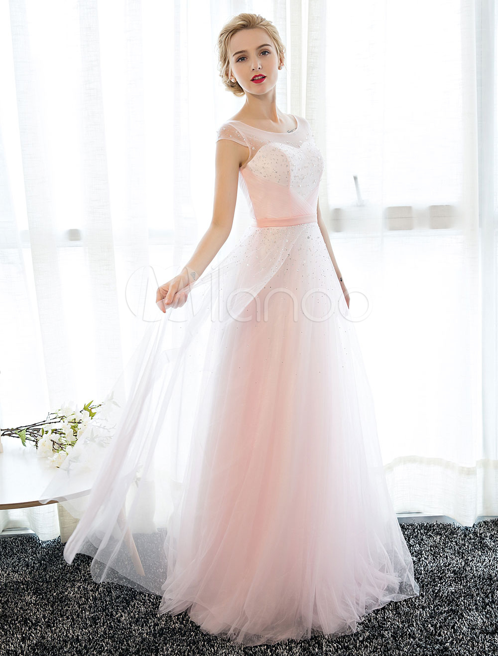 Buy Prom Dress Long Soft Pink Tulle Party Dress Beaded Illusion Sweetheart Neckline Floor Length Prom Dresses for $118.79 in Milanoo store
