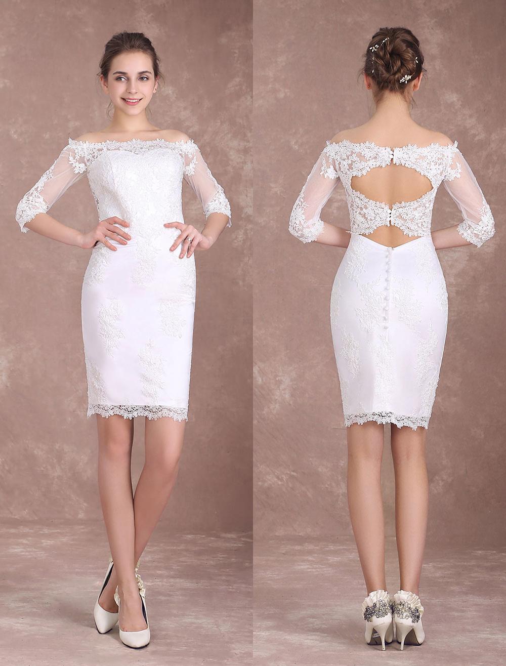 Short Wedding Dresses Sheath Lace Bridal Dress Ivory Off The Shoulder Half Sleeve Illusion Knee Length Column Wedding Reception Dress Milanoo