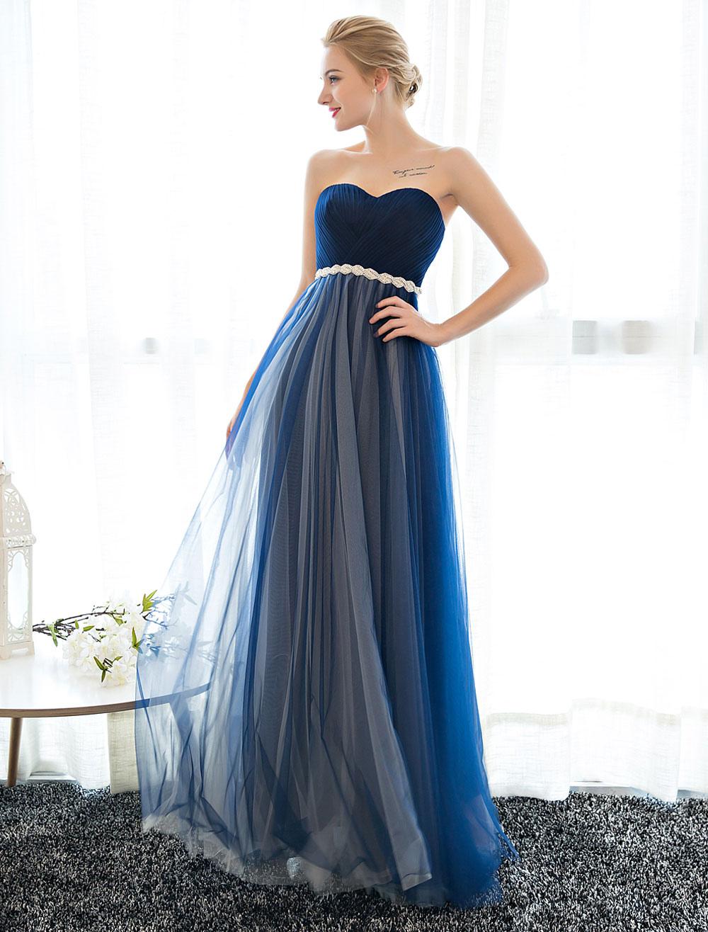 Buy Prom Dress Strapless Dark Navy Sweetheart Neckline Long Party Dresses Beaded Sash Pleated Tulle Floor Length Evening Dress for $101.19 in Milanoo store