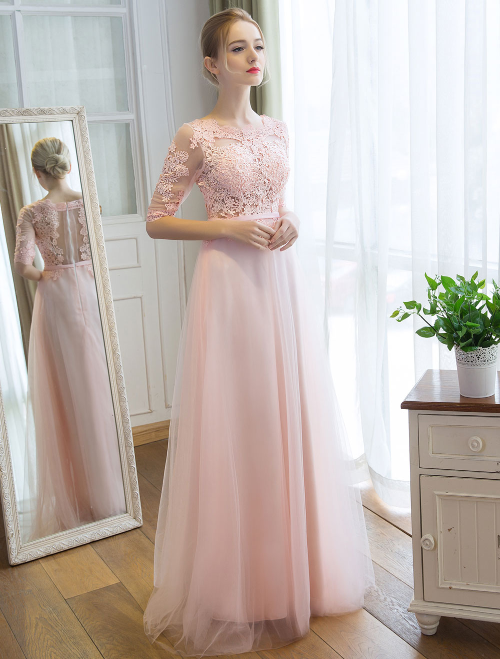 Prom Dresses Long Soft Pink Half Sleeve Lace Tulle Formal Evening Lace Applique Maxi Party Dress