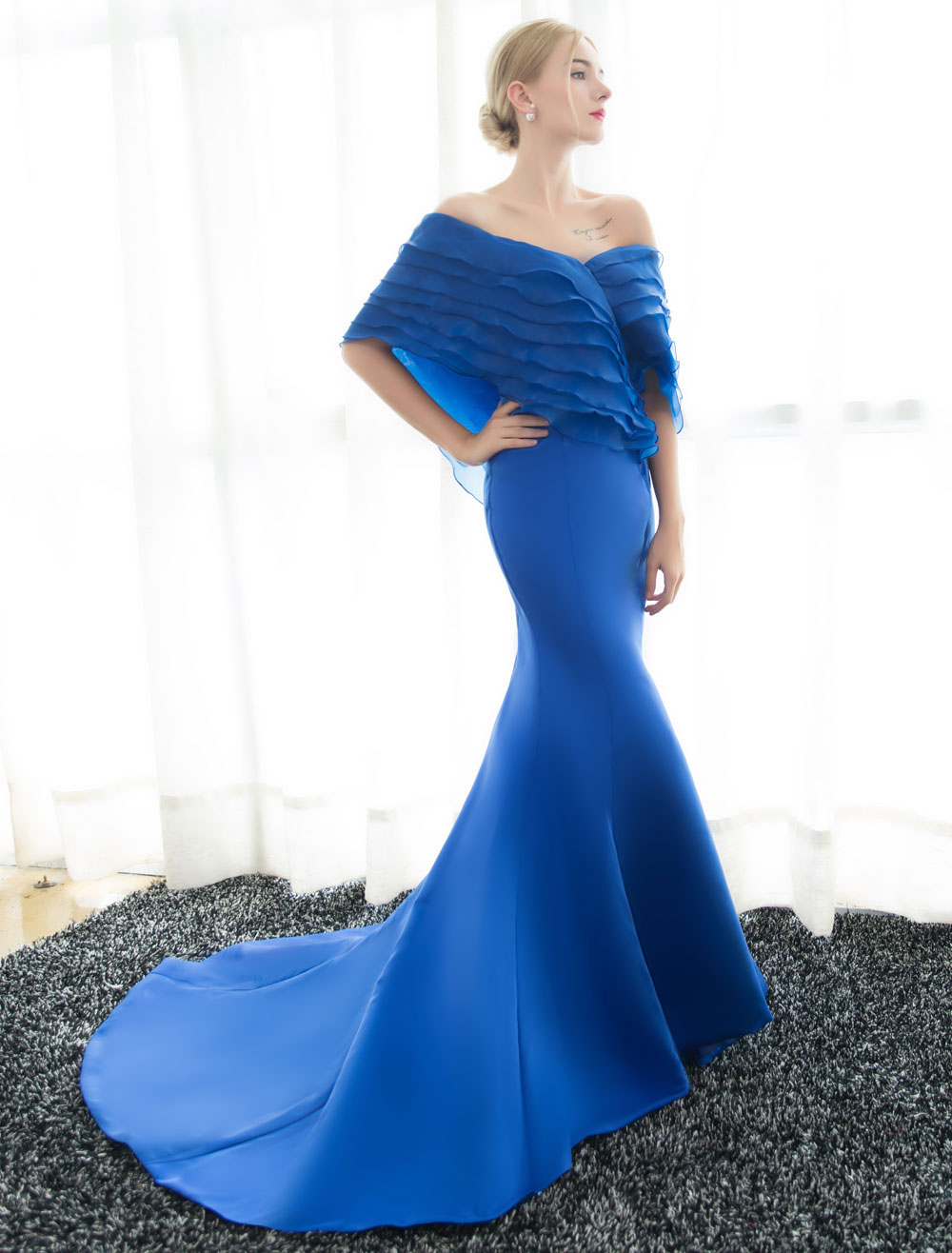 Blue Evening Dresses Off Shoulder Mermaid Evening Gown Pleated Satin Formal Dress With Train