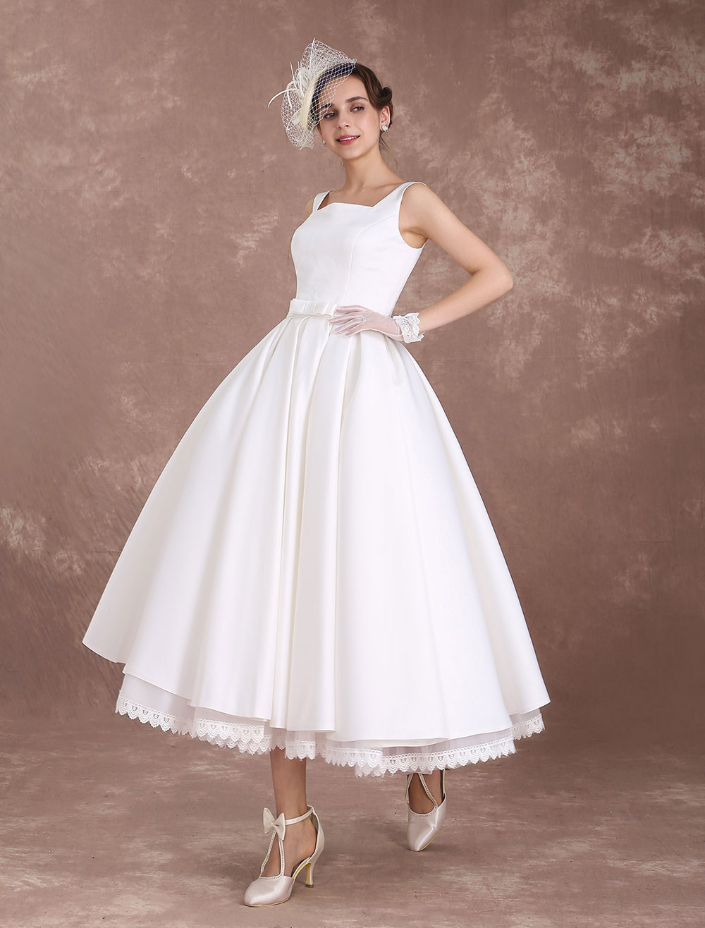 White Wedding Dresses Short Vintage Bridal Dress 1950\'s Satin Straps ...