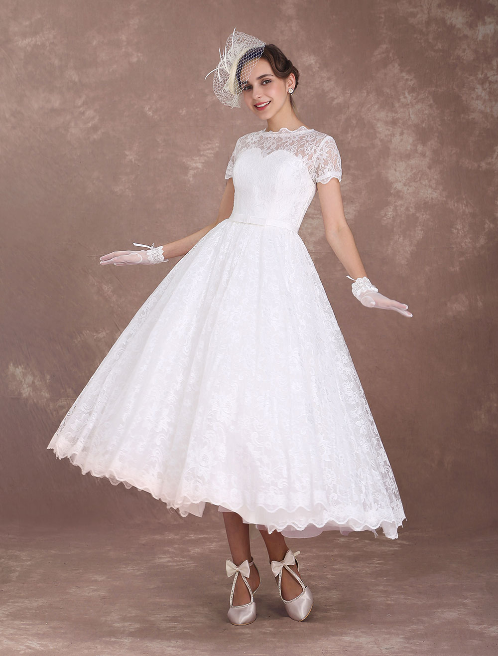 Lace Wedding Dresses Short Sleeve 1950
