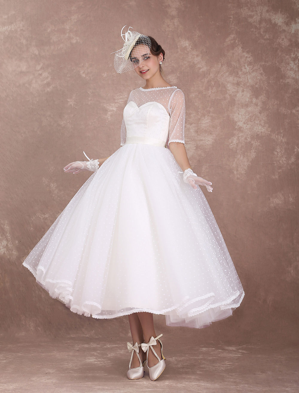 Vintage Wedding Dress 1950's Short Bridal Dress Ivory Backless Polka Dot Half Sleeve Sweetheart Bow Sash Weddig Reception Dress Milanoo