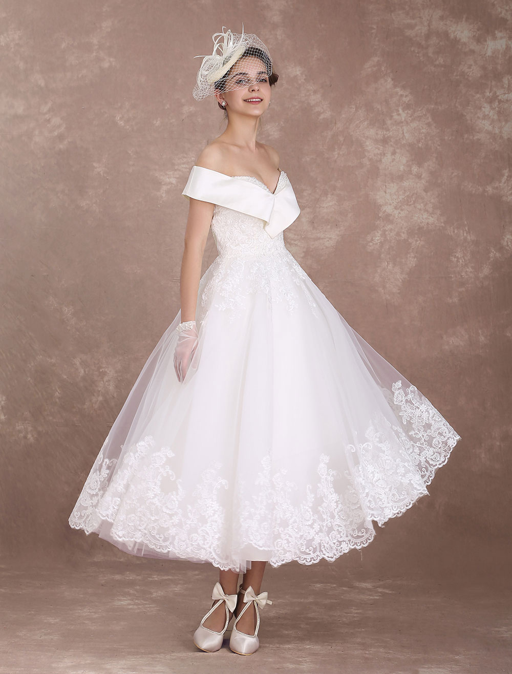 Vintage wedding dresses off the shoulder short bridal for Vintage summer wedding dresses