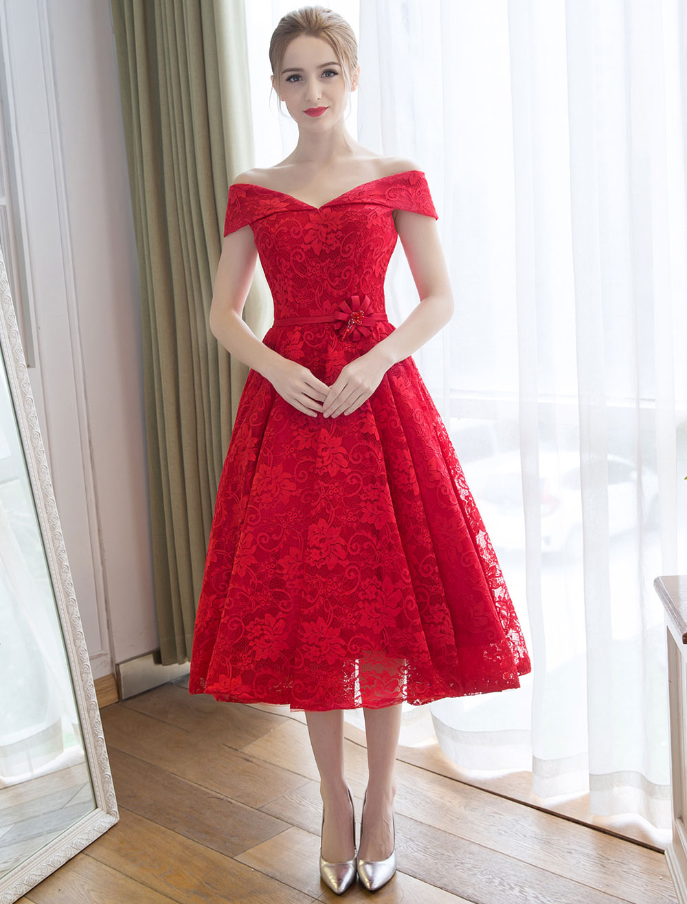 Lace Cocktail Dresses Off The Shoulder Red Lace Up Sash Tea Length Short Party Dress
