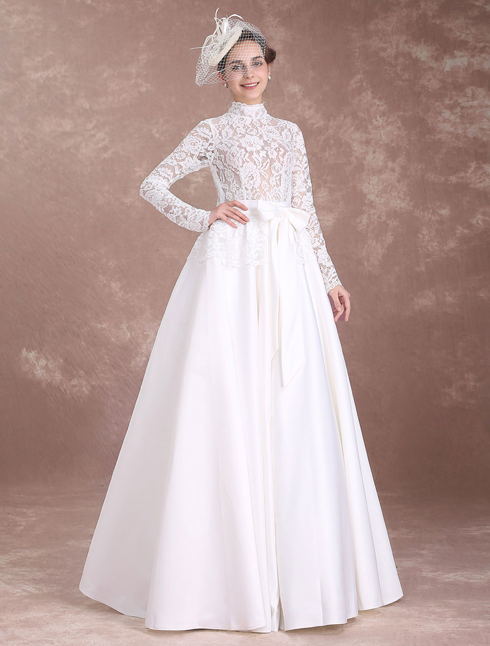 Lace Vintage Wedding Dress.Vintage Wedding Dresses Lace Ivory Bridal Dress Long Sleeve High Collar Illusion Satin Cut Out Floor Length Wedding Gown Milanoo