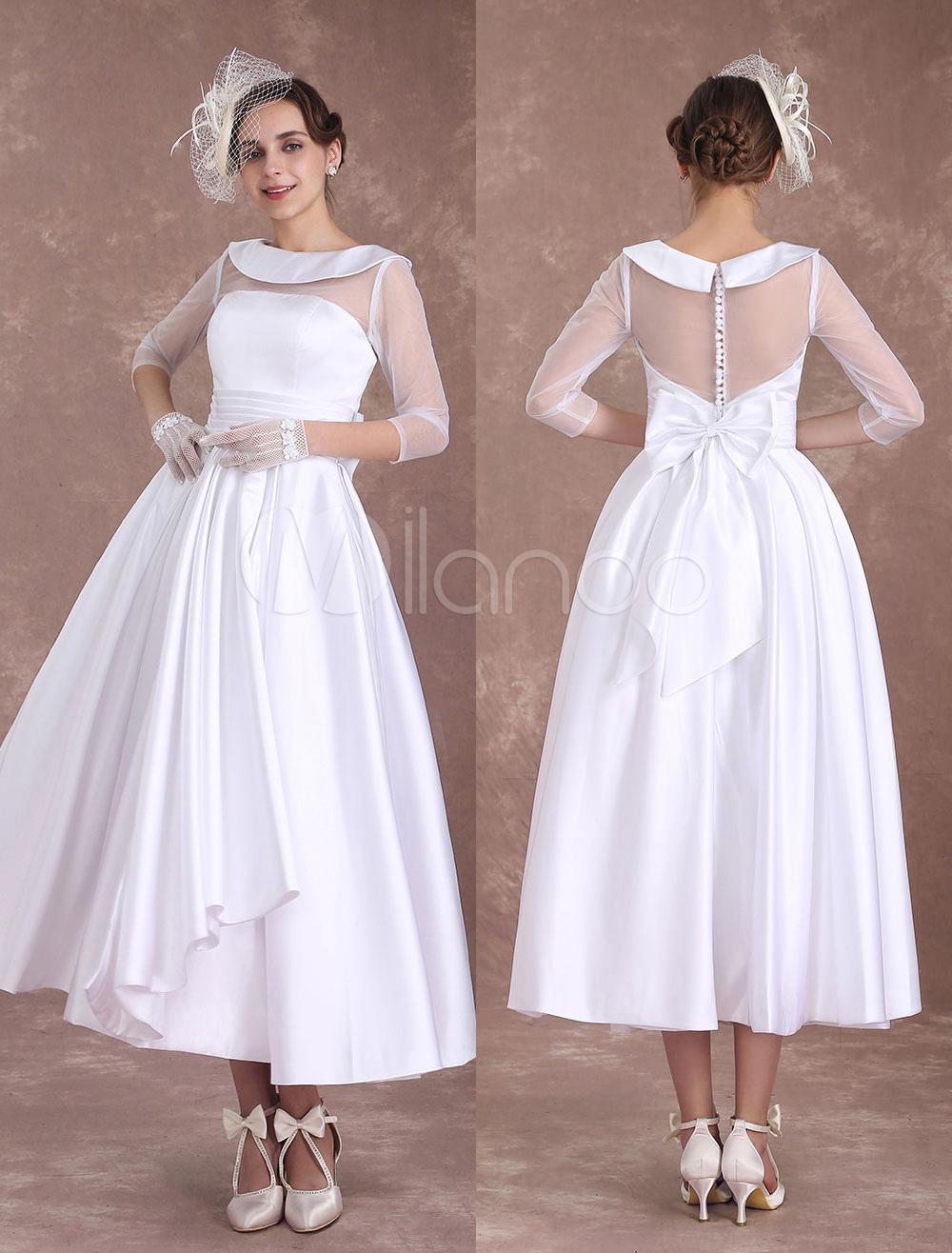 1950 S Vintage Wedding Dresses.White Wedding Dresses Short 1950 S Vintage Bridal Dress Satin Long Sleeve Pleated Illusion Tea Length Wedding Reception Dress Milanoo