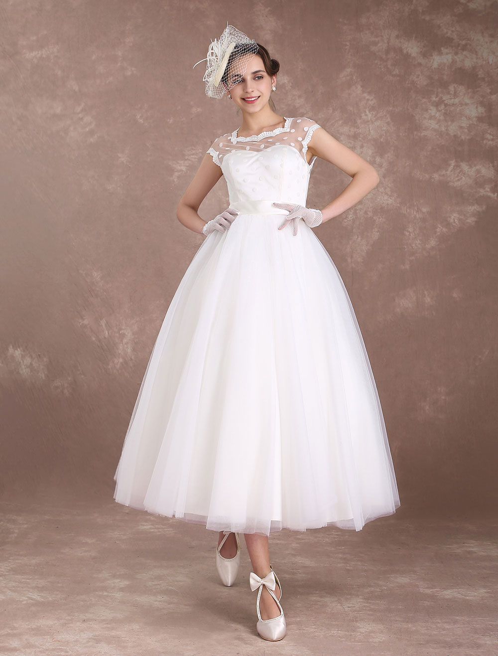 Short Wedding Dresses Vintage 1950's Bridal Dress Open Back Polka Dot Ivory A Line Tea Length Wedding Reception Dress Milanoo
