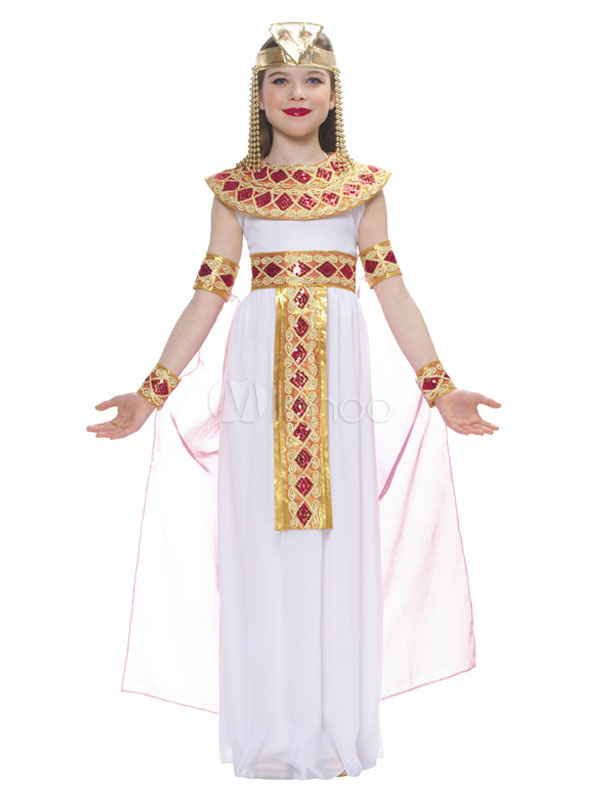 61c91772a4f0 Halloween Egyptian Kids Costume White Chiffon Dress Outfit - Milanoo.com