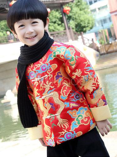 Chinese Boys Costume Red Coat New Year Halloween