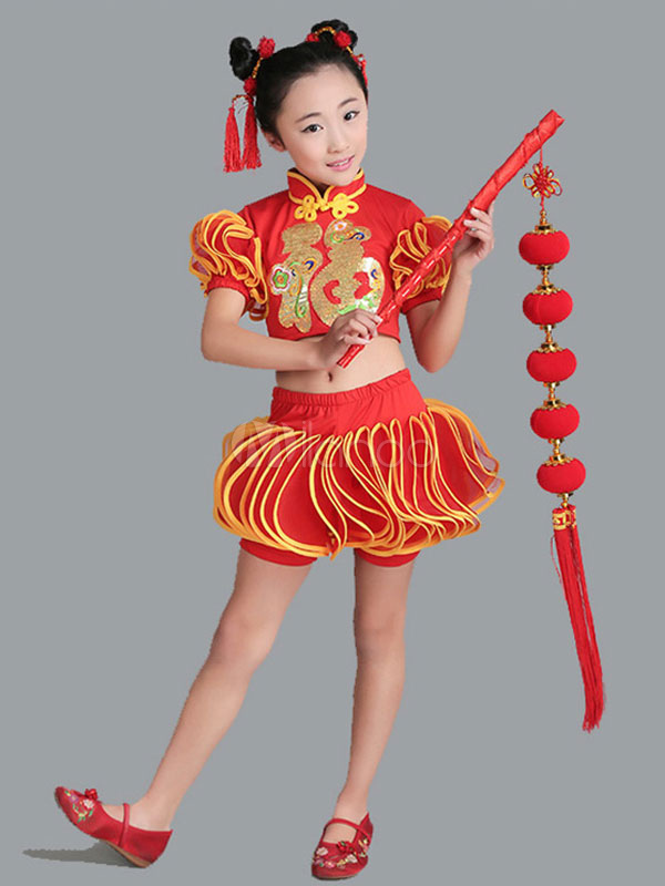 Chinese Costume Halloween Red Girls Skirt With Top And Headpieces