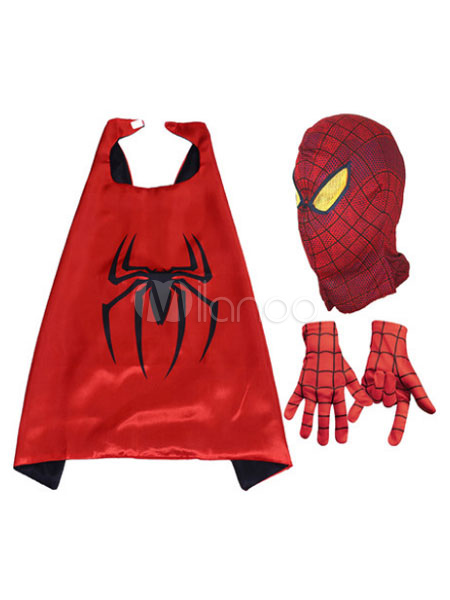 Spider Man Halloween Costume Kids Red Cloak With Hood And Gloves For Boys