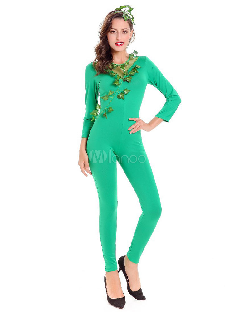 Poison Ivy Cosplay Costume Green Catsuit Jumpsuit