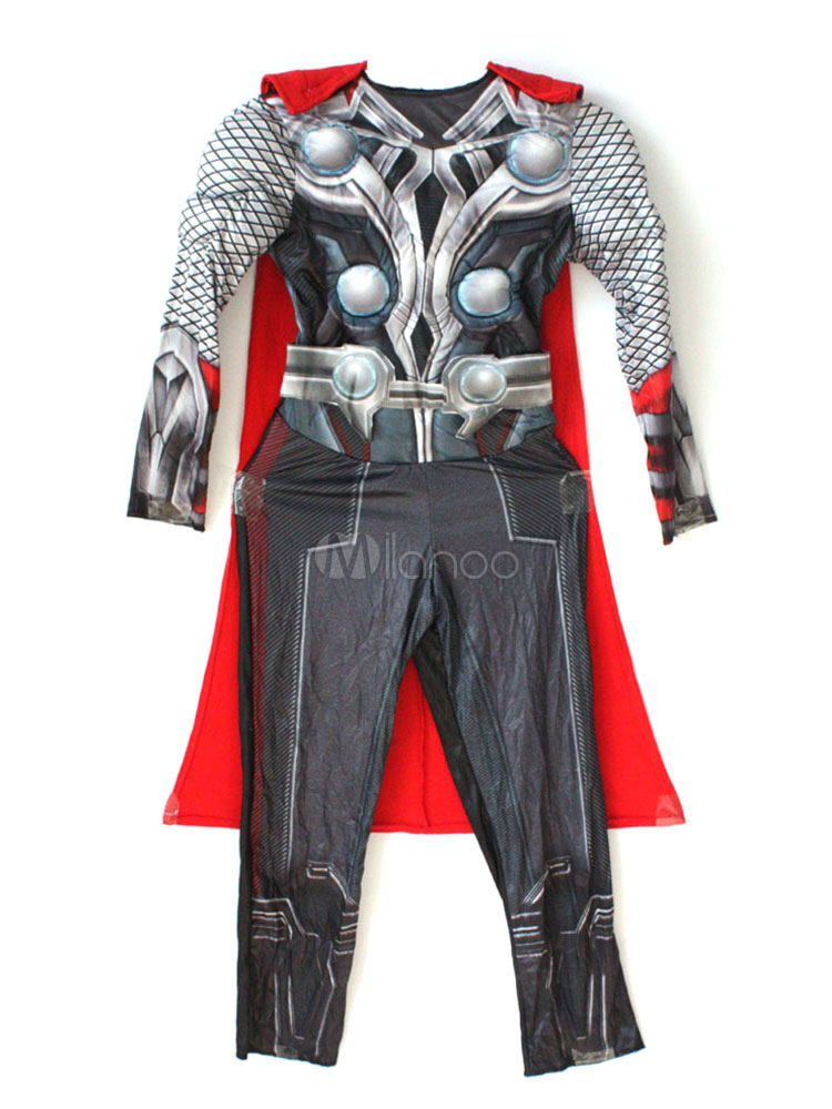 Thor Costume Halloween Marvel Black Jumpsuit With Cloak For Boys