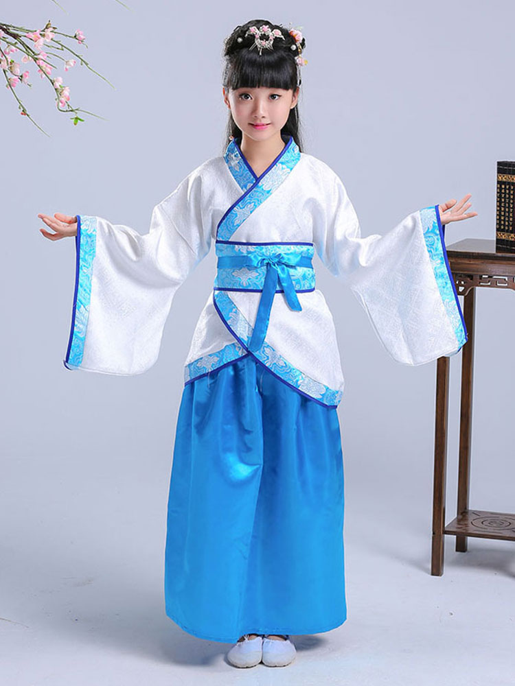Kids Chinese Costume Girls Blue 3 Pieces Halloween