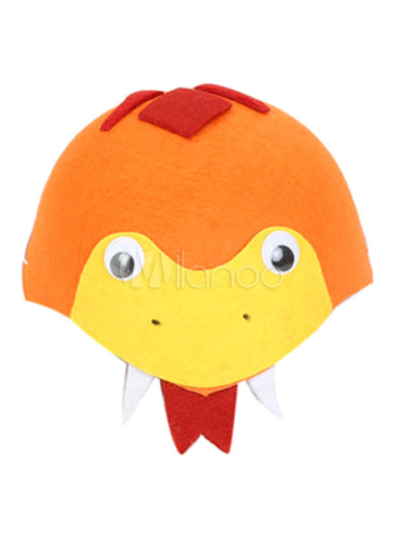 キッズ ハロウィン コスチューム シンセティック合成素材 森の動物 帽子 オレンジ色 カラーブロック