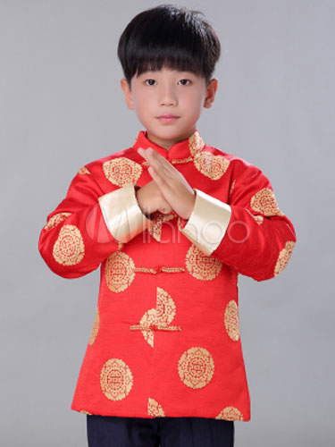 Chinese Costume Halloween Boys Red Coat New Year