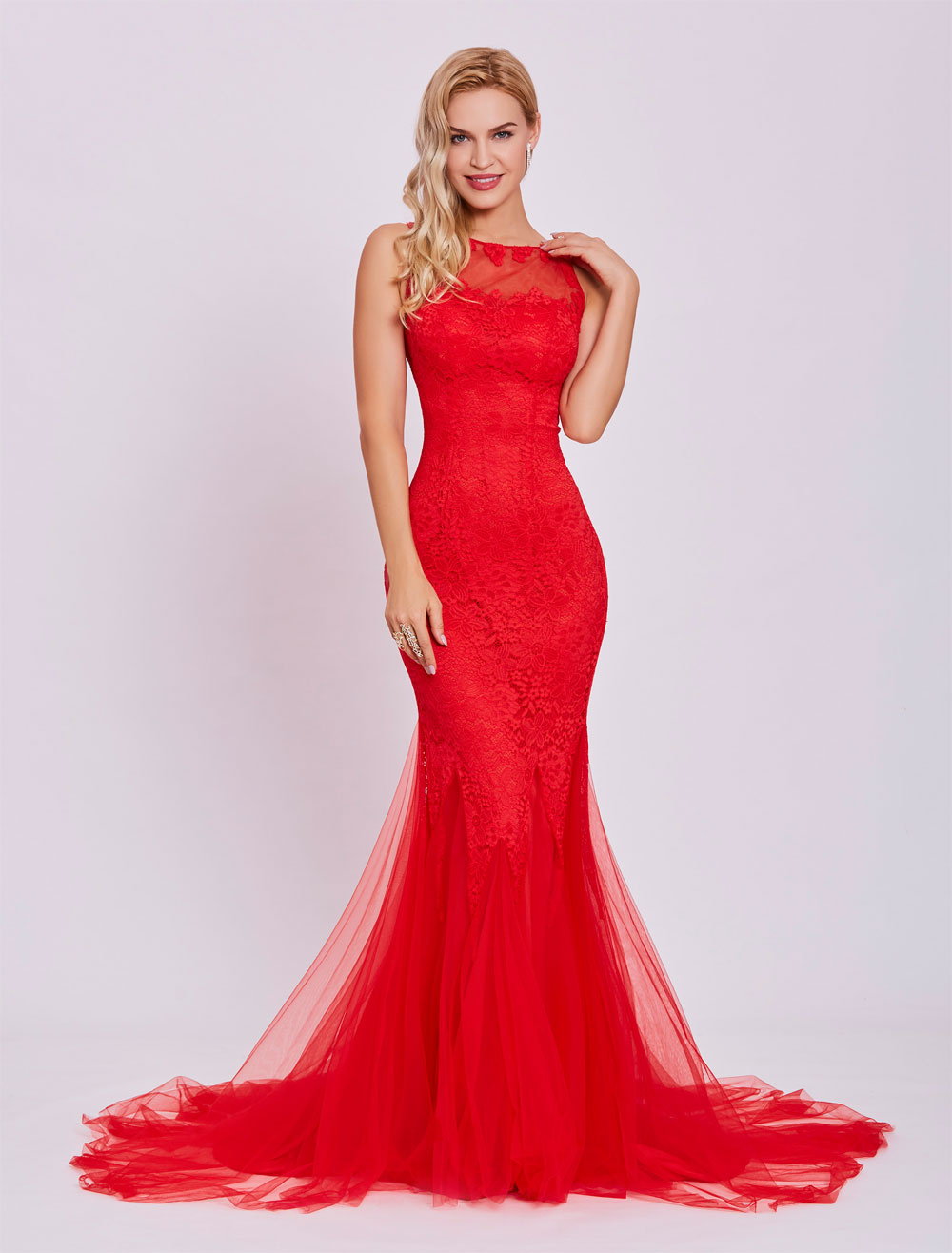 Buy Red Prom Dresses 2018 Long Backless Sexy Evening Dress Lace Mermaid Tulle Formal Gown With Train for $83.59 in Milanoo store