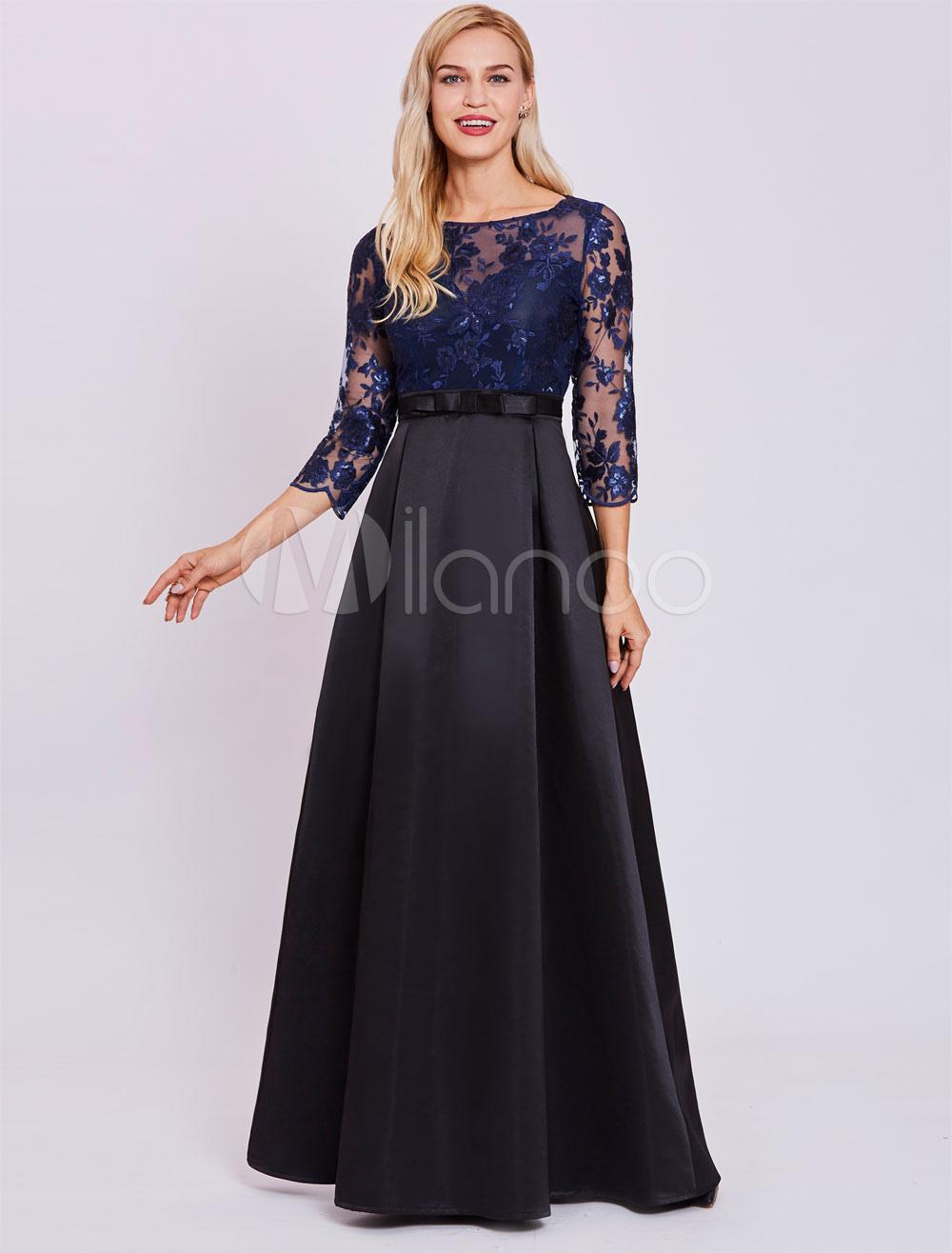 f3917e6fb28 ... Evening Dresses Dark Navy Lace Satin Long Sleeve Illusion Bow Sash Floor  Length Formal Dress-. 12. 32%OFF. Color Dark Navy