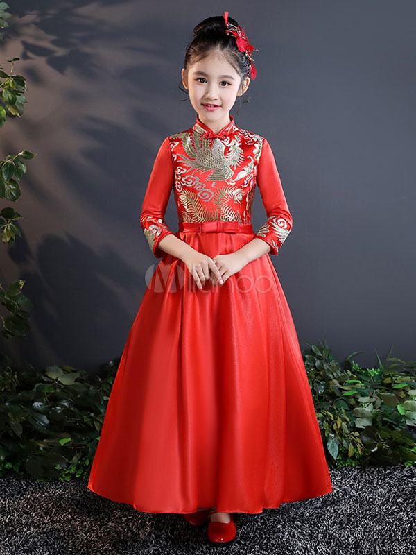 Little Girls Dresses Red Satin Chinese Style Bow Sash Kids Formal Party Dresses