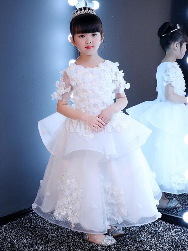 White Flower Girl Dresses Lace Princess Pageant Dress Kids 3D Flowers Applique Ruffles Tiered Long Party Dress