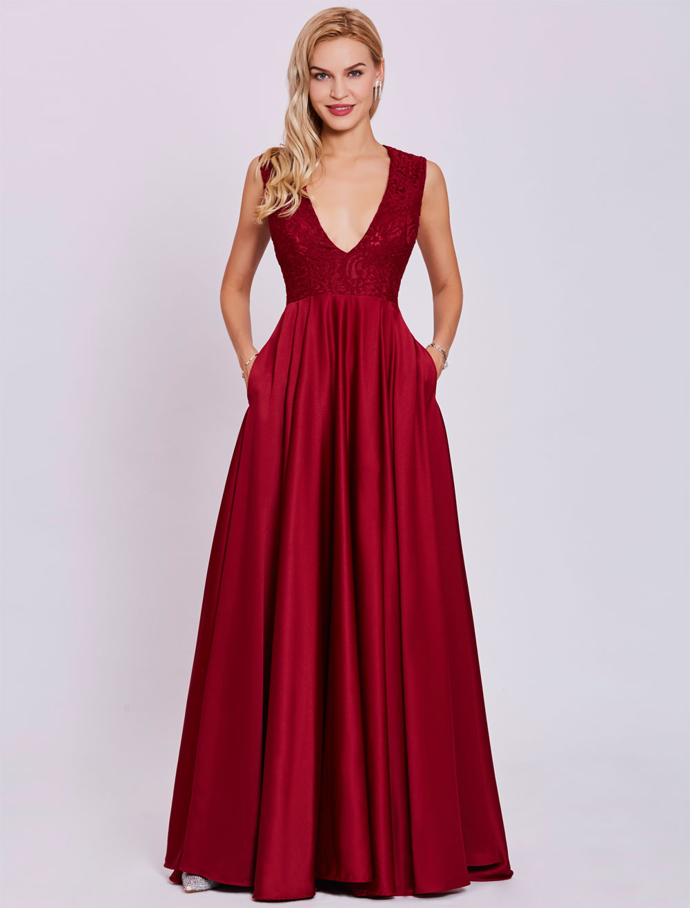 Prom Dresses Long Burgundy V Neck Satin Evening Gown Pleated Floor Length Maxi Formal Dress