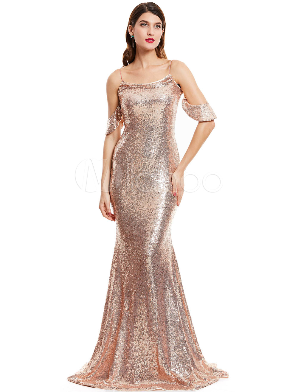 Buy Sequin Prom Dresses Mermaid Formal Evening Dress Off Shoulder Straps Evening Gown With Train for $92.39 in Milanoo store