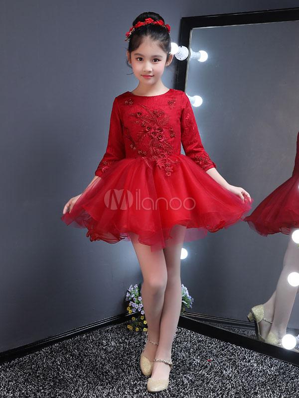 3fb4a4629a Flower Girl Dresses Short Tutu Dress Burgundy Kids Long Sleeve Applique Mini  Party Dresses For Little ...