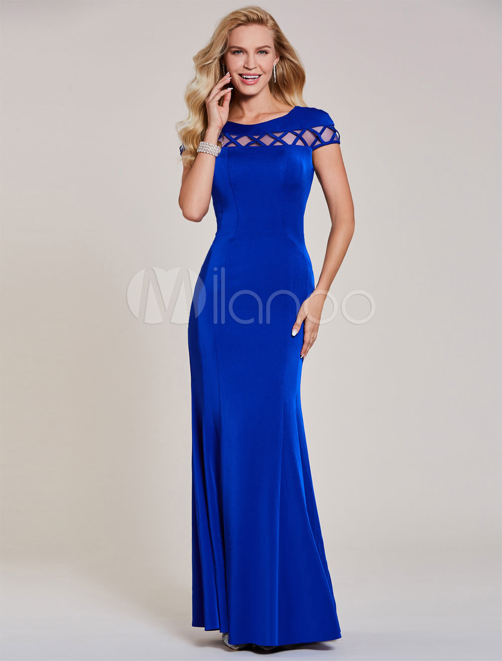 Evening Dresses Royal Blue Mermaid Formal Dress Short Sleeve Illusion Wedding Guest Dress