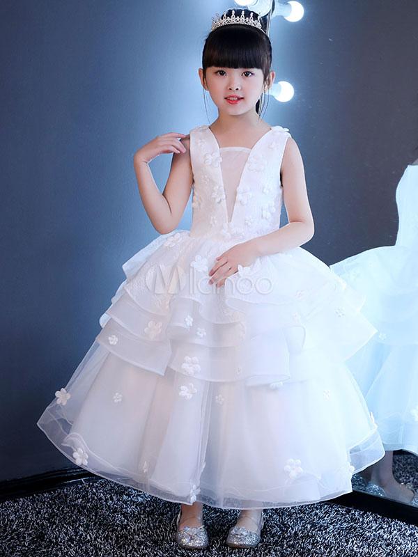 White Flower Girl Dresses Lace Princess Pageant Dress Kids Long 3D Flowers Applique Ruffles Tiered Party Dress