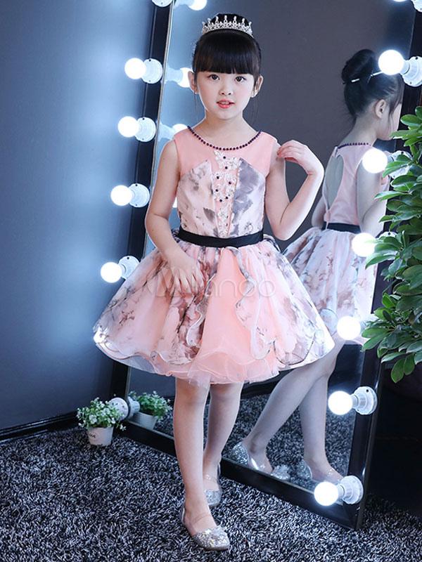 Flower Girl Dresses Short Tutu Dress Soft Pink Open Back Lace Beaded Sash Kids Party Dresses