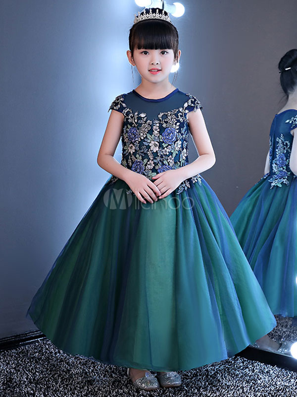 Princess Flower Girl Dresses Applique Sleeveless Round Neck Tulle Ankle Length Kids Pageant Party Dress