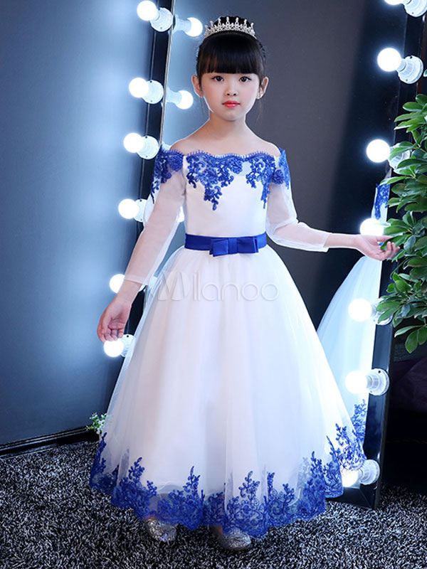 92590e10f9 Flower Girl Dresses Off The Shoulder Royal Blue Pageant Dress Lace Applique  Bow Sash Kids Long Party Dresses