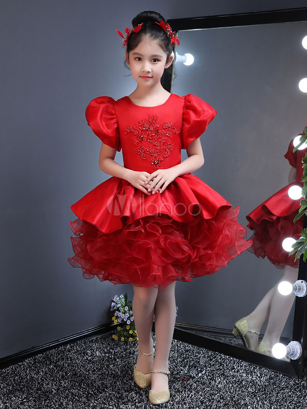 Red Flower Girl Dresses Short Tutu Dress Puff Sleeve Lace Beaded Ruffles Mini Party Dresses For Kids
