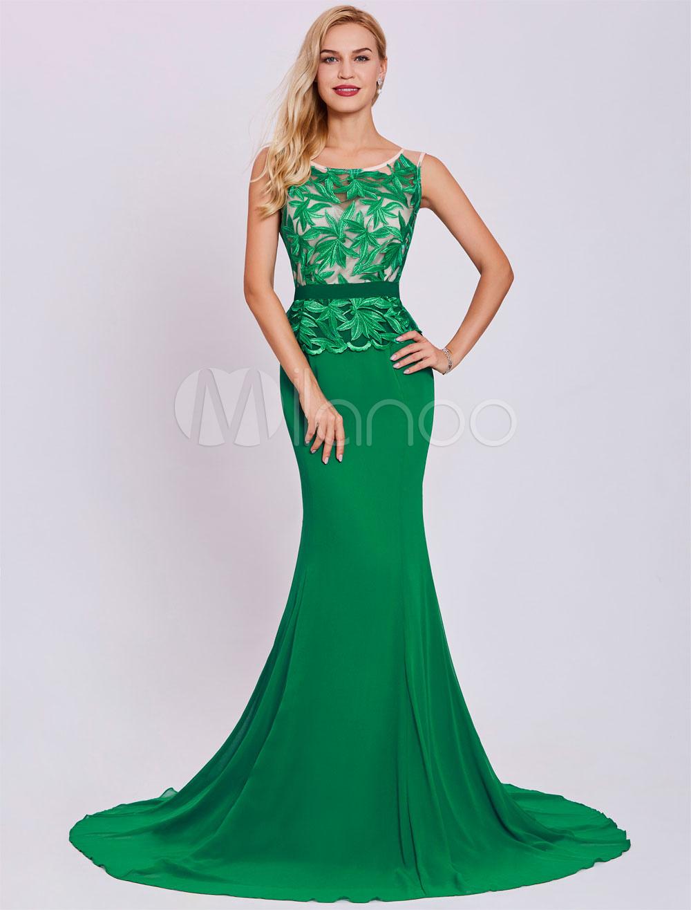 Evening Dresses Mermaid Lace Illusion Sleeveless Sash Dark Green Wedding Party Dress