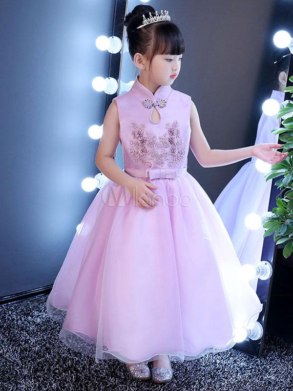 7d36d17ef7 Flower Girl Dresses Kids Fuchsia Pink Satin Beaded Mandarin Collar Bow Sash  Little Girls Pageant Dress ...