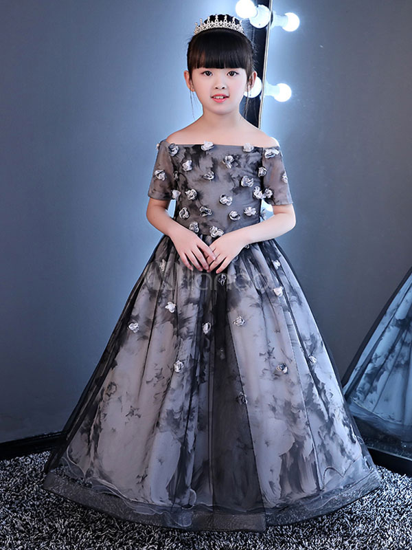 Princess Flower Girl Dresses Off The Shoulder Pageant Dress Floral Short Sleeve Long Grey Party Dress For Kids