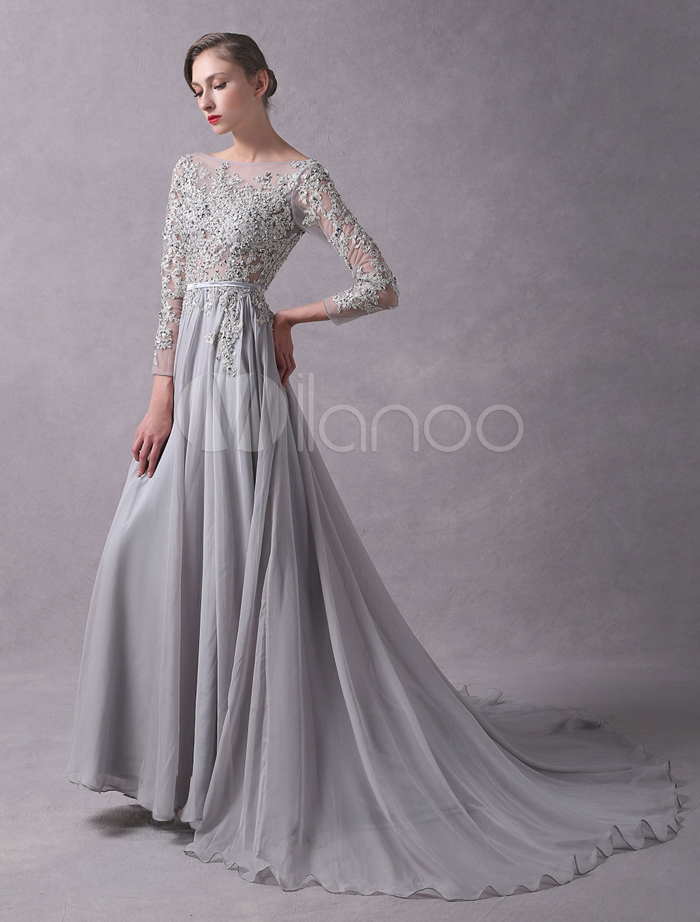 02312cf9c2 Evening Dresses Light Grey Backless Long Sleeve Lace Applique Beaded  Illusion Sash Formal Dresses With Train