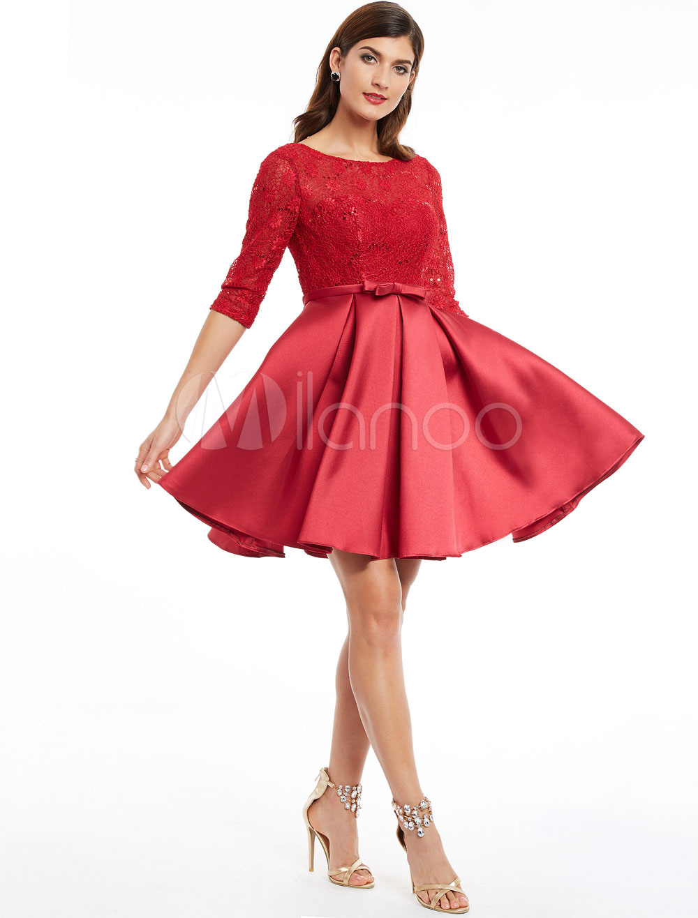 Buy Cocktail Dresses Red Half Sleeve Short Prom Dress Lace Satin Backless Bow Sash Knee Length Party Dresses for $74.79 in Milanoo store